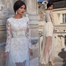 Informal Wedding Dresses New Style Informal Wedding Dresses Illusion Long Sleeve Lace Short