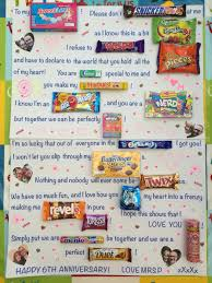 6 year anniversary gift ideas for candy poster board for our 6 year wedding anniversary gift