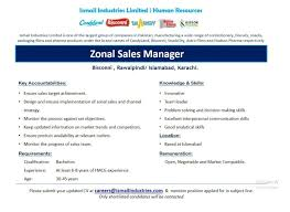 Sample Resume For Zonal Sales Manager by Ismail Industries Ltd Zonal Sales Manger Jobs Mbamess