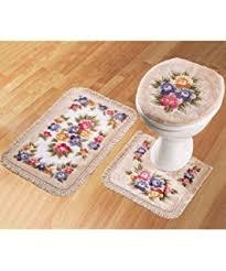 bathroom mat lid cover toilet rug set 3 piece new amazon co uk