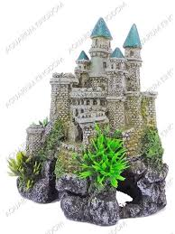 castle w plants green roof kazoo aquarium ornament