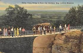 Rock City Gardens Lookout Mountain Ga Postcard Ga Lookout Mountain Swing Along Bridge Rock City Gardens