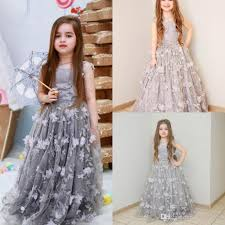 cute silver flower dresses for weddings 3d floral appliqued