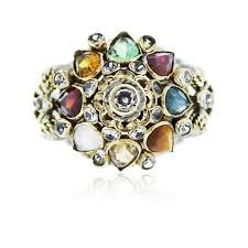 vintage 18k gold diamond and multi colored gemstone ring boca raton