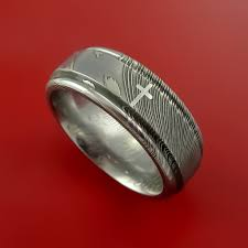 damascus steel christian ring and palladium inlay wedding band