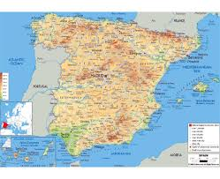 France Physical Map by Maps Of Spain Detailed Map Of Spain In English Tourist Map