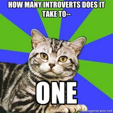 Anxiety Cat Meme - introvert memes how many introverts does it take to one