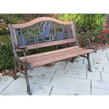 Cast Iron Loveseat Horse Theme Pattern Back Wood And Cast Iron Park Bench Antique
