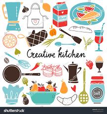 cooking set kitchen utensil food hand stock vector 640914760