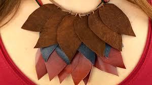 diy leather necklace images Diy leather leaf necklace jpg