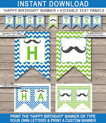 mustache party mustache party banner template birthday banner editable bunting