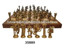 antique wooden chess board with indian brass chess pieces set