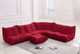 alluring cute red microfiber low profile sofa on white floor for