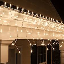9 ft 150 clear icicle lights white wire indoor