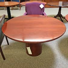 used round office table used 48 beveled edge round office table cherry ctb1420 018