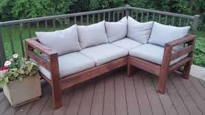Building Outdoor Wooden Tables by Amazing Outdoor Sectional Diy 2x4 Stained Wood Simple Nice