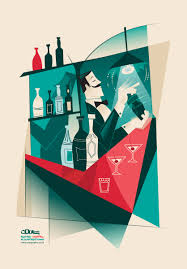retro martini vintage cocktail martini poster digital illustration by