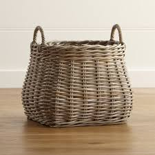 Large Wicker Vases Birney Round Grey Rattan Basket Crate And Barrel
