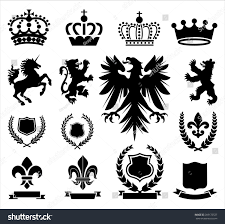 heraldry ornaments set various heraldry ornaments stock vector