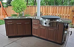 Outdoor Kitchen With EVO Teppanyaki Grill Beautiful Wood Surface - Outdoor kitchen sink cabinet