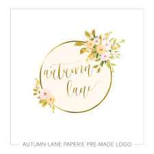 gold flowers gold foil circle with watercolor autumn flowers logo autumn