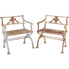 Antique Cast Iron Garden Benches For Sale by Rare Antique Cast Iron Ship And Anchor Bench Table And Pair Of