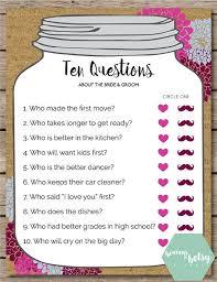 bridal shower question jar ten questions bridal shower wedding question