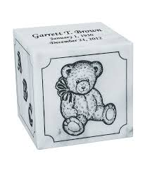 engraved teddy bears excelsus teddy infant white marble engravable cremation urn