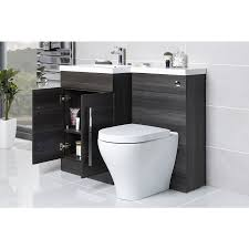 calm grey right hand combination vanity unit set with toilet