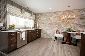 Wood Tile Kitchen Contemporary Cabinetry Faux Wood Floor Tile Stacked Stone Wall