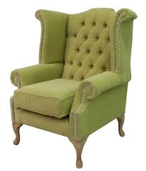chesterfield queen anne high back wing chair verity lime green