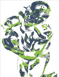 Seahawks Shower Curtain Bobby Wagner Seattle Seahawks Pixel Art 2 Mixed Media By Joe Hamilton