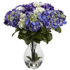 silk hydrangea blue purple and white silk hydrangea centerpiece silk flower