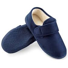 Mens Leather Bedroom Slippers by Men U0027s Slip Resistant Comfy Fleece Lined House Slippers 8 Navy