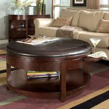 coffee table round leather ottoman with storage 4 ottomans brown