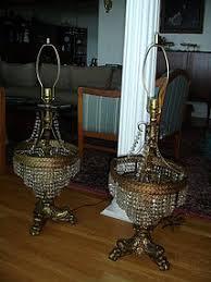Hollywood Regency Pair Hollywood Regency Crystal 3 Tier Table Lamps Item 1087691