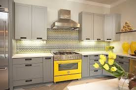 gray and yellow kitchen ideas modern gray yellow kitchen slide in range and vases cabinets