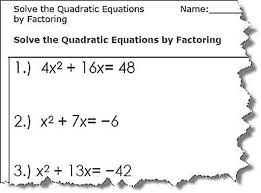 solve quadratic equations by competing the square worksheets