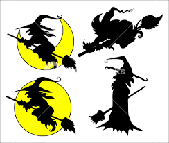 set of halloween witch vector silhouettes royalty free stock image