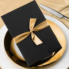 blue and gold ribbon wedding invitations simple damask black pocket gold ribbon