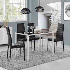 Esszimmertisch Set En Casa Esstisch 4 Stühle Schwarz Weiß Küchentisch