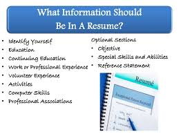 What Should Be In The Summary Of A Resume What Information Should Be On A Resume Feld Career Center June