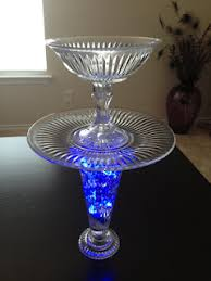 led light stand for crystal glass art diy crystal stand or serving dish with blue led lights and aqua