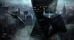 fantasy art digital art drawing cityscape airplane skyscraper