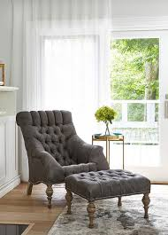 chairs with ottomans for living room gray tufted accent chair with ottoman transitional living room