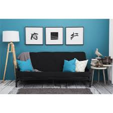Black Living Room Furniture Mainstays Fairview Storage Arm Futon With 6