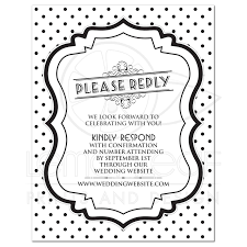Invitation Response Card Wording Wedding Website Rsvp Retro 50s Black White Polka Dot