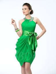 cocktail dress halter neckline studded belt bowknot cocktail dress