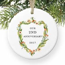 amazon com 2nd anniversary ornament second christmas wedding