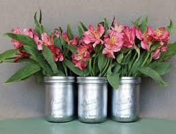 Mason Jar Vases Diy Metallic Looking Mason Jar Vase With Flowers